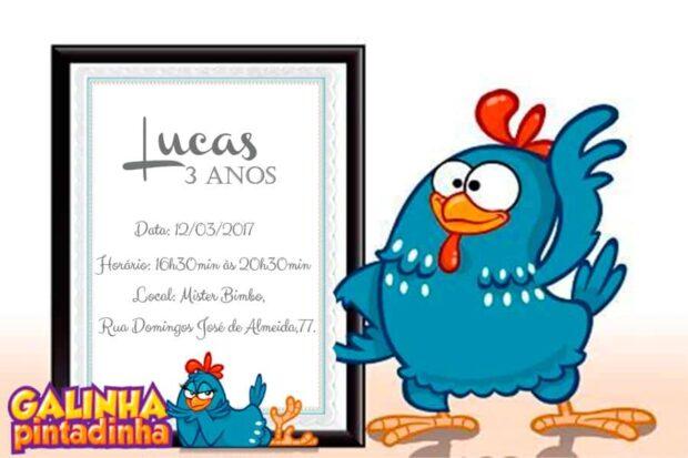 Convite infantil da galinha pintadinha modelo 2