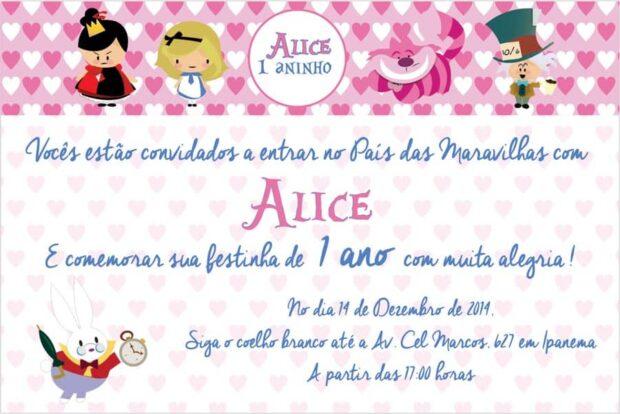 Convite Alice no Pais das Maravilhas