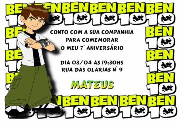 Convite de aniversario do Ben 10 modelo 1