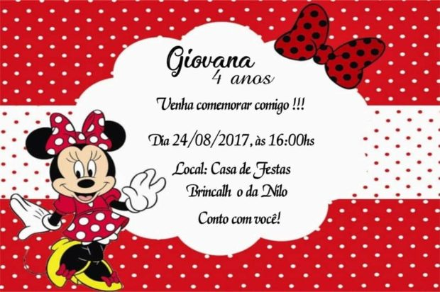 Convite de aniversario do Mickey e da Minnie modelo 6