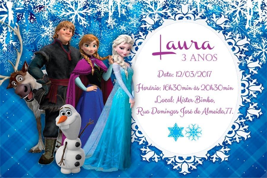 Convite de aniversario Frozen modelo 1