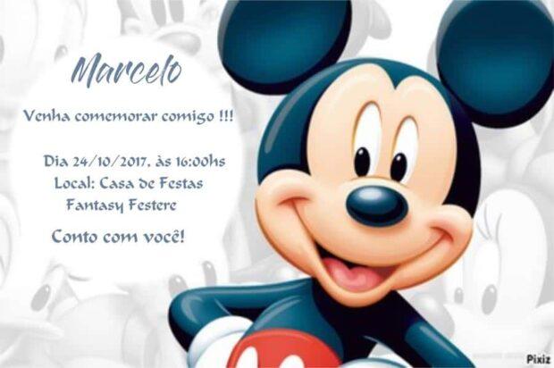 Convite do Mickey modelo 2