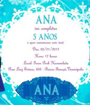 Convite personalizado Frozen modelo 8