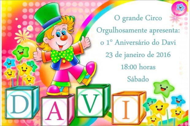 Convite de aniversario Circo modelo 1