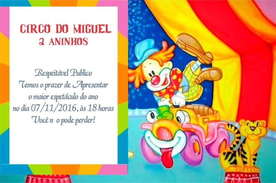Convite Circo de aniversario modelo 2