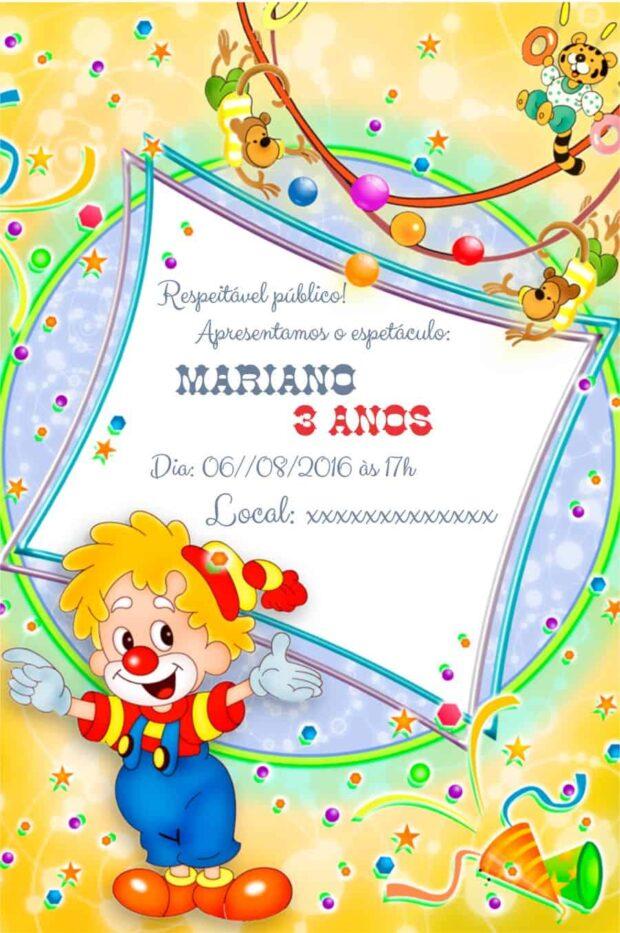 Convite Circo personalizado modelo 4