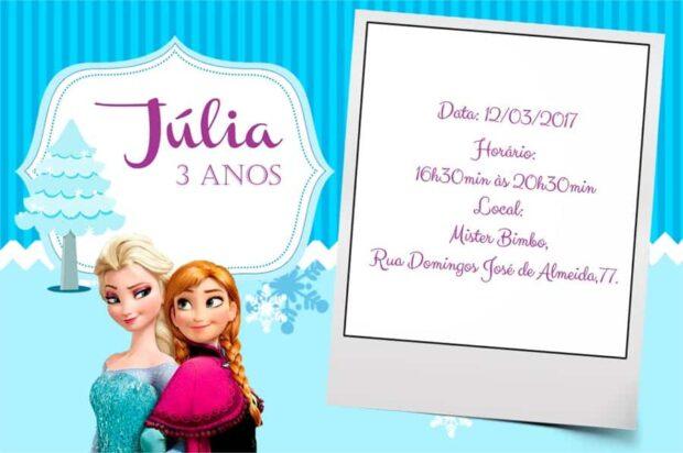 Convites de aniversario Frozen modelo 9