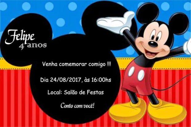Convites do Mickey modelo 4