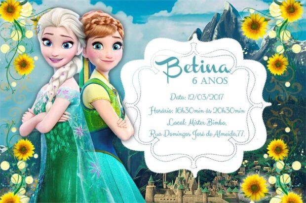 Convites Frozen de aniversario modelo 6