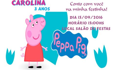 Convite peppa pig modelo 5