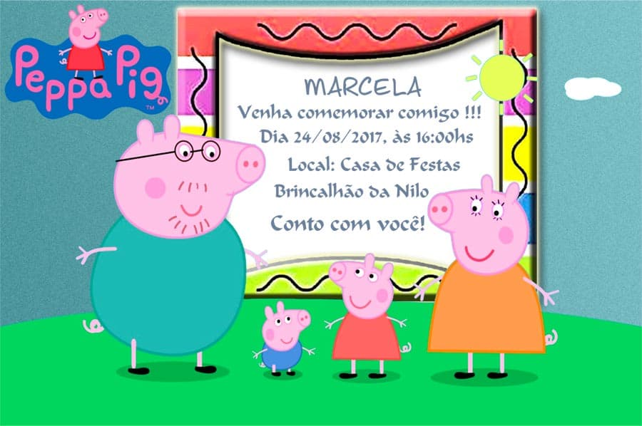 Convites Peppa Pig modelo 6
