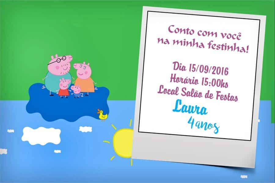 Convite da Peppa modelo 1