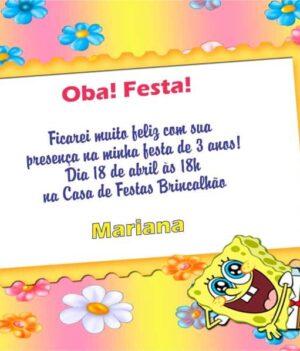 Convites Bob Esponja modelo 4